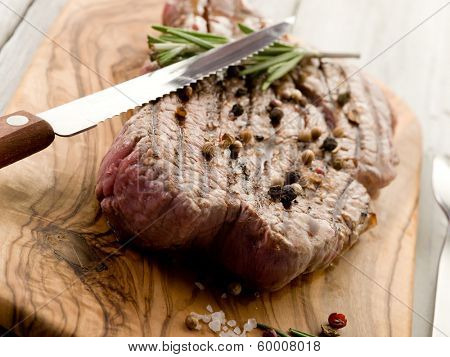 grilled tenderloin with pepper and rosemary