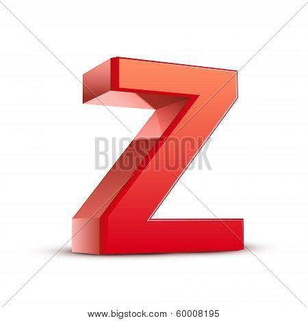 3D Red Letter Z