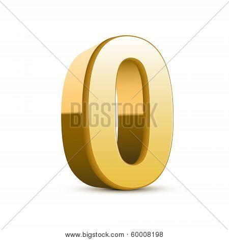3D Shiny Golden Number 0