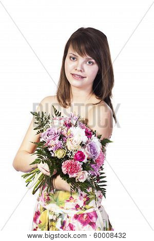 Young Smiling Woman With Flowers
