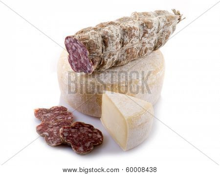 italian salami and cheese on white