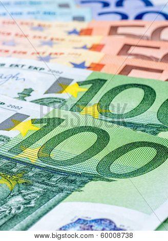 A macro shot of various euro bills