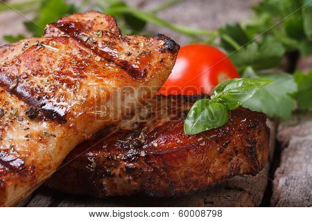 Two Slices Of Juicy Grilled Meat,  Macro