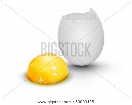 Cracked Egg With Egg Yolk