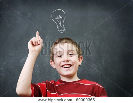 Smiling boy with an idea