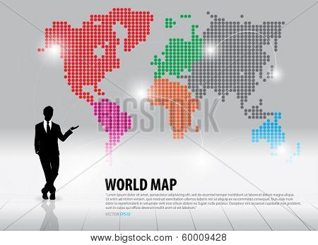 Businessman showing world map with continents. Vector illustration.
