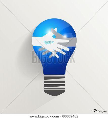 Light bulb with Handshake Vector illustration
