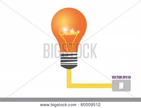 Creative design template, Light bulb with drawing word creative inside, vector illustration