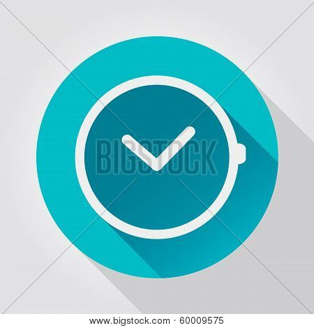 Time clock icon, flat design
