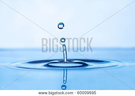 drop of water on a blue background