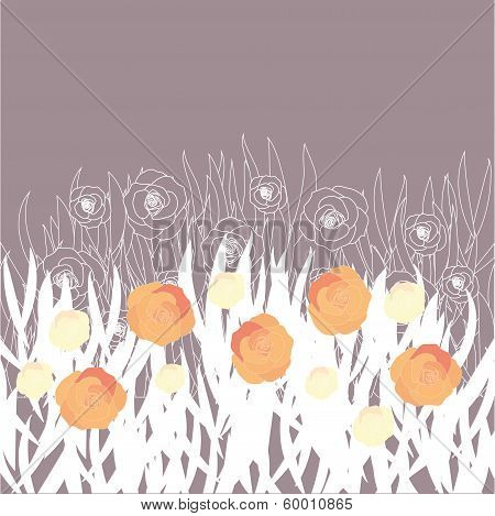 vector stylized field with flowers