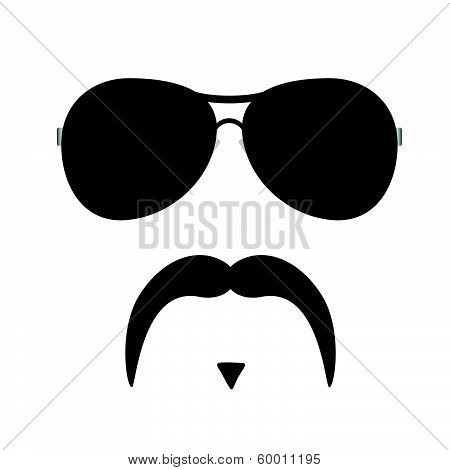 Face Illustration With Mustache