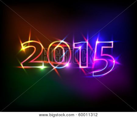 2015 Year With Colored Neon Lights