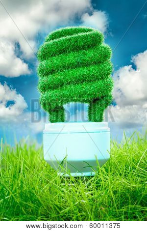 Eco light bulb in green grass on blue sky background