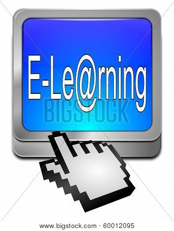 E-Learning Button with cursor