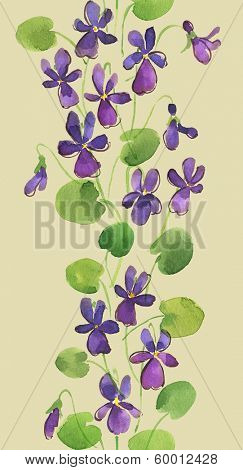 Watercolor vertical seamless pattern with violet flowers