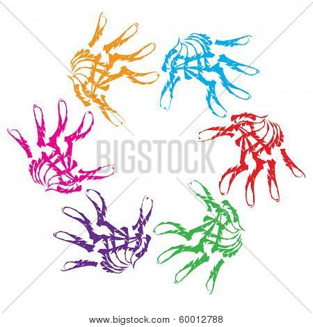 Concept or conceptual human child abstract colorful paint hand print circle symbol isolated on white background