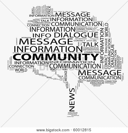 High resolution concept or conceptual black tree contact and community word cloud isolated on white background wordcloud