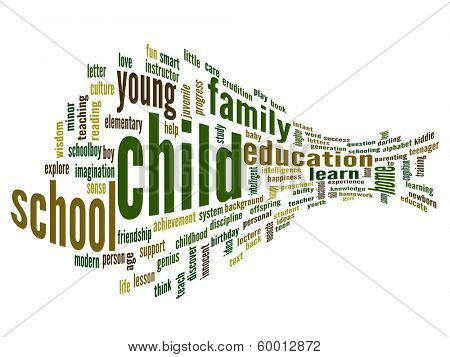 High resolution concept or conceptual 3D child education abstract word cloud on white background