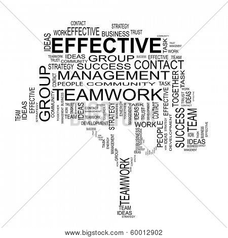 Conceptual black  tree made of team text as effective business wordcloud isolated on white background