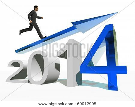 Conceptual 3D  human,man or businessman standing over an blue 2014 year symbol with an arrow isolated on white background