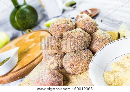 Closeup Meat Balls Ground Beef Rolled Breadcrumbs