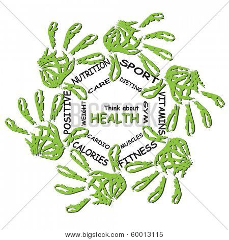 Concept or conceptual abstract circle health word cloud of green leaf child hand prints isolated on white background