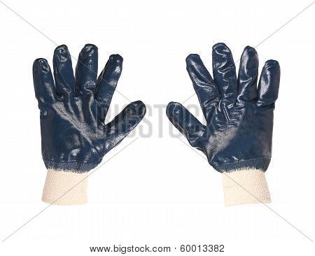 Rubber protective blue gloves.