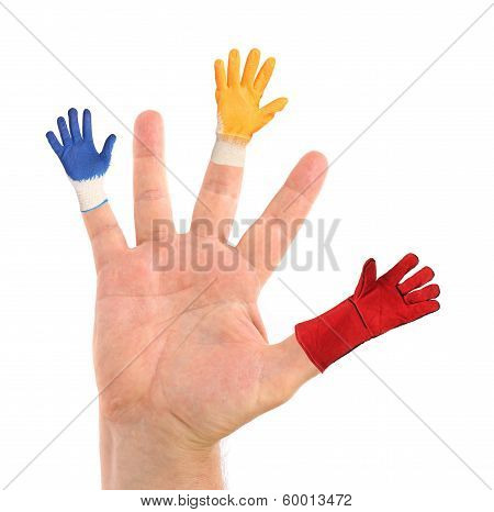 Hand with different gloves on fingers.