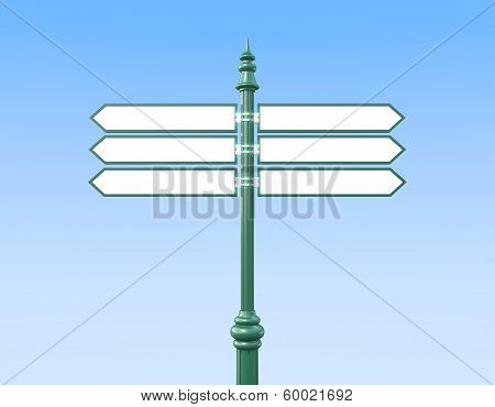 Classic Sign Post With Six Signs Sky