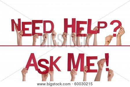 Hands Holding Need Help, Ask Me