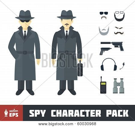 Spy Character Pack with Gadgets in Flat Style poster