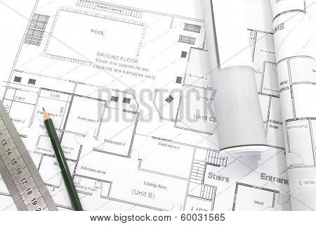 Architect rolls and plans.architectural plan,technical project drawing