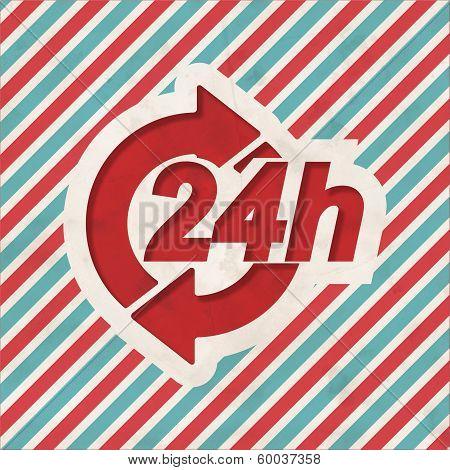 Service 24h Concept on Retro Striped Background.