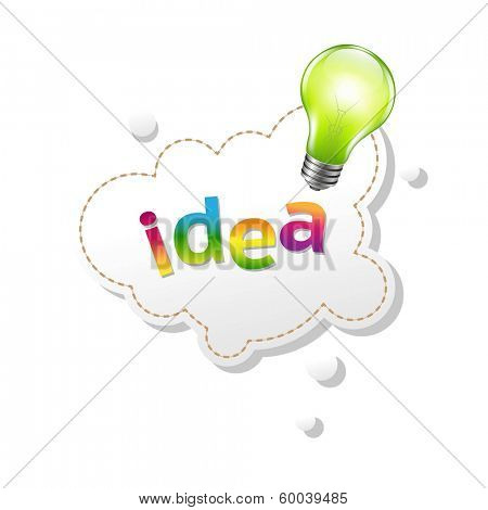 Speech Bubble And Lamp, With Gradient Mesh, Vector Illustration