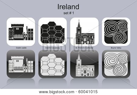 Landmarks of Ireland. Set of monochrome icons. Raster image (check my portfolio for options.)