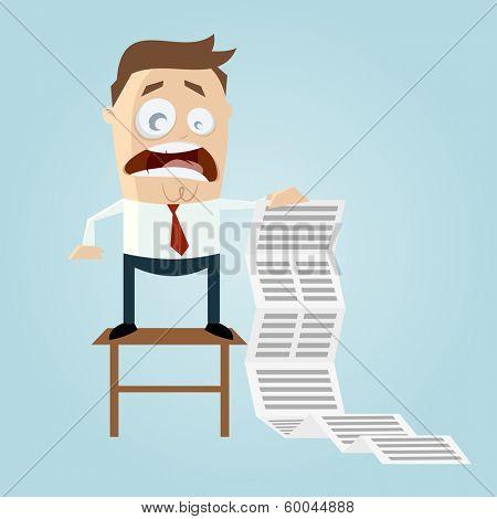 cartoon man with long task list