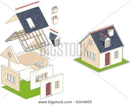 Isometric vector illustration of a house in kit
