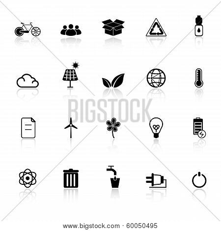 Ecology Icons With Reflect On White Background