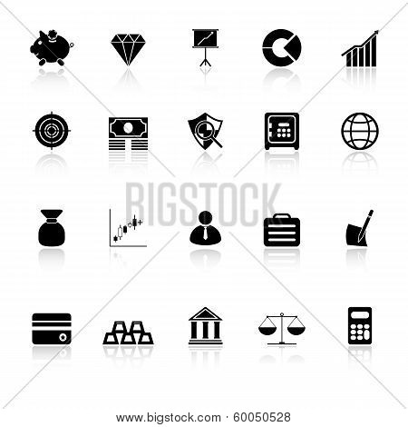 Finance Icons With Reflect On White Background