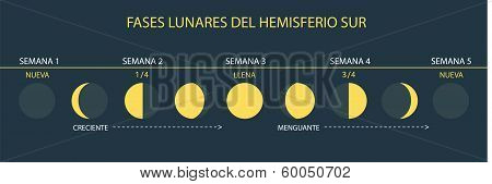 Moon Phases Southern Hemisphere (Spanish/Español)