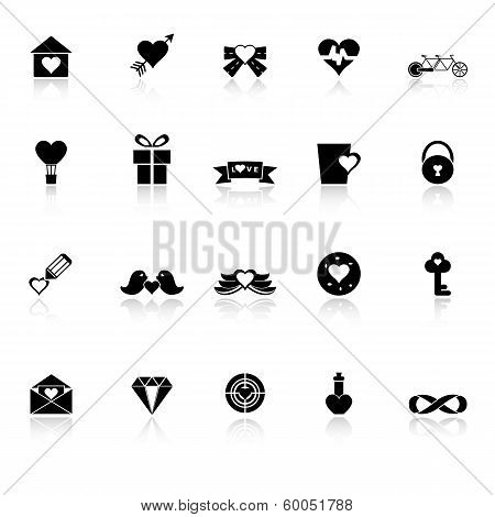 Love And Heart Icons With Reflect On White Background