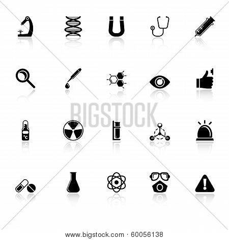 Science Icons With Reflect On White Background