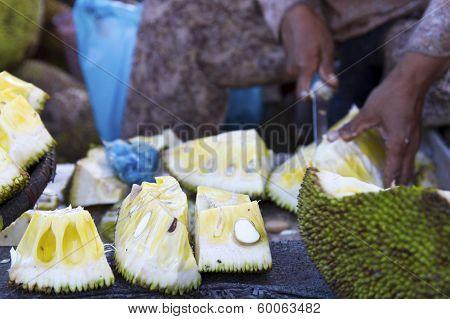 Cambodia Durian At Market