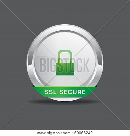 SSL Protection Secure Round Button Icon