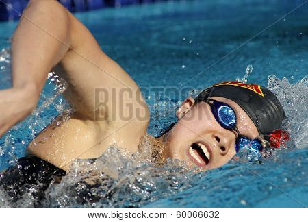 BARCELONA - JUNE, 11: Chinese swimmer Wenqing Zhang swimming freestyle during the Mare Nostrum meeting in Barcelona's Sant Andreu club, June 11, 2013 in Barcelona, Spain
