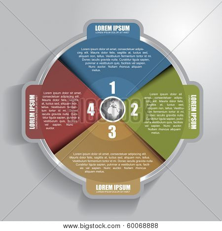 Vector infographic circle with four steps and with place for text content
