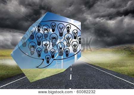 Light bulbs in speech bubble on abstract screen against stormy landscape background with street poster