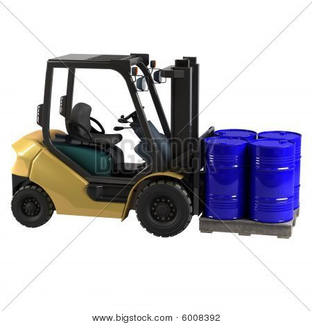 Forklift On White Background