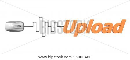 Orange Word Upload With Grey Mouse - Digital Cable